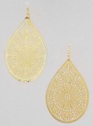Teardrop Filigree Earrings - Onyx and Blush  - 1