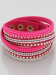 Studded Wrap Bracelet - Onyx and Blush  - 3