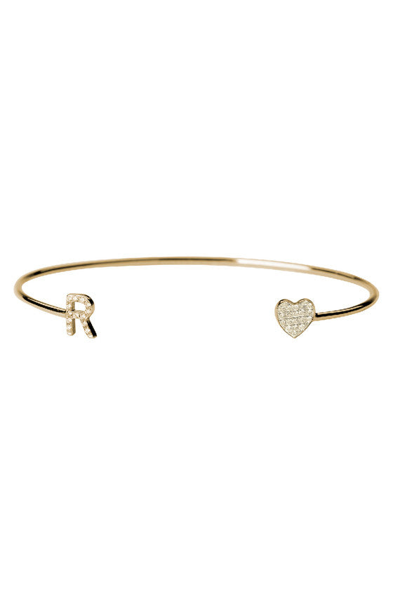 Diamond Initial & Heart Cuff Bracelet - Onyx and Blush  - 1