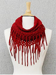 Tube Scarf with Fringe - Onyx and Blush  - 2