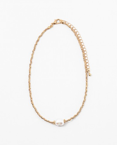 Simple Gold Pearl Choker