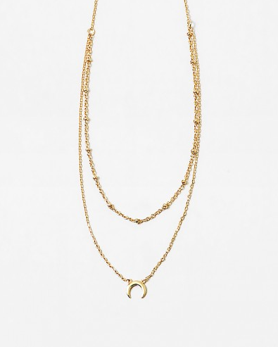 Dainty Layered Crescent Necklace