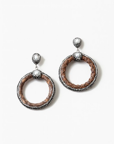 Leather and Druzy Earrings