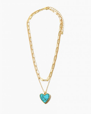Turquoise Heart Layered Necklace