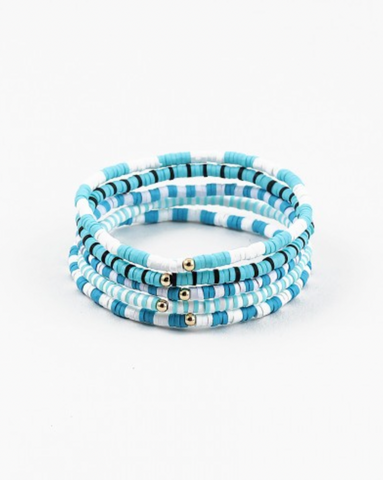 Mini Turquoise/White Disc Bracelet Set