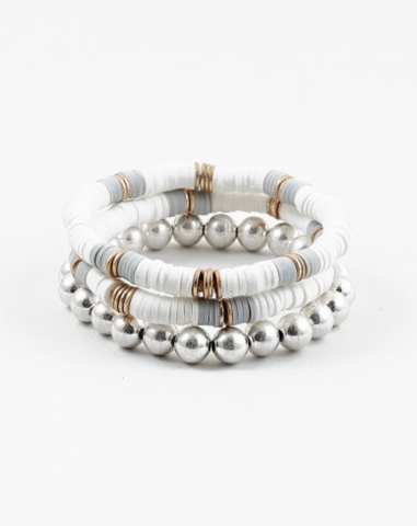 White Disc and Silver Ball Bracelet Set