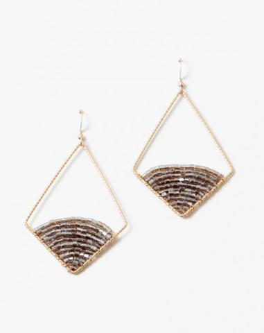 Geometric Beaded Drop Earrings