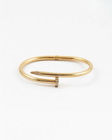 Gold Nail Bangle with Pave Detail
