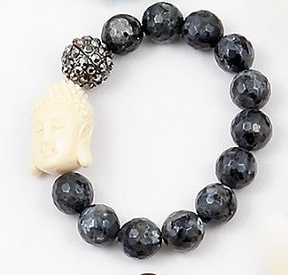 Buddha Beaded Bracelet - Onyx and Blush  - 2