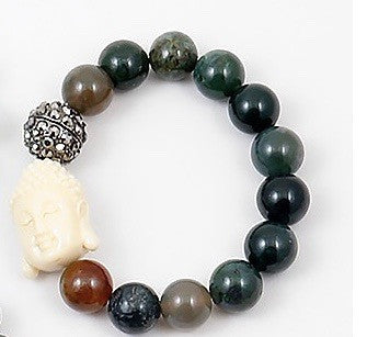 Buddha Beaded Bracelet - Onyx and Blush  - 3