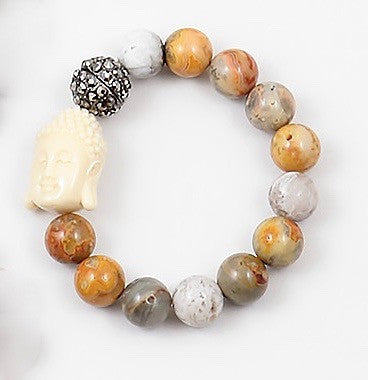 Buddha Beaded Bracelet - Onyx and Blush  - 1