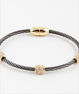 Pave Cable Bangles - Onyx and Blush  - 3