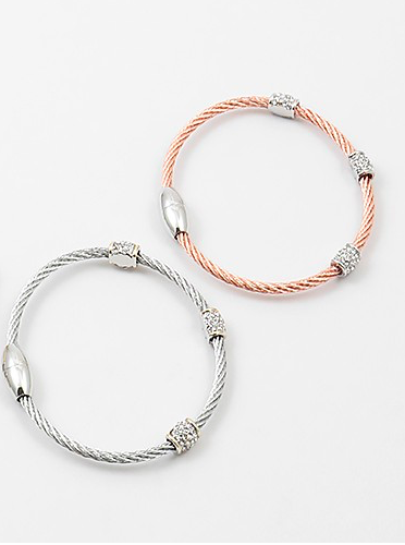 Pave Cable Bangles - Onyx and Blush  - 4