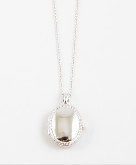 Sterling Silver Pave Locket - Onyx and Blush  - 1