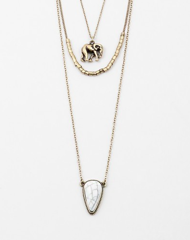 Elephant Layering Necklace - Onyx and Blush  - 1