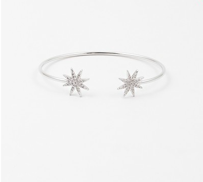 Sunburst Open Bangle - Onyx and Blush