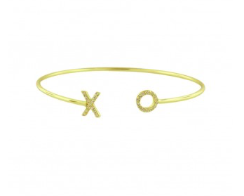 XO Pave Open Bangle - Onyx and Blush  - 1