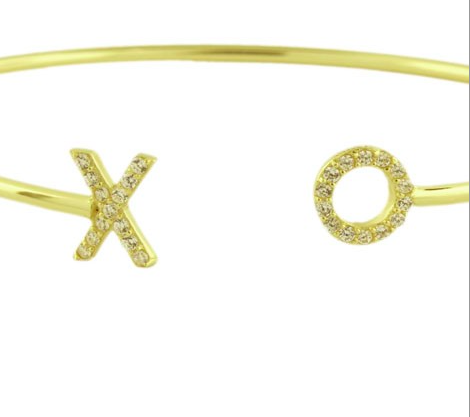 XO Pave Open Bangle - Onyx and Blush  - 2