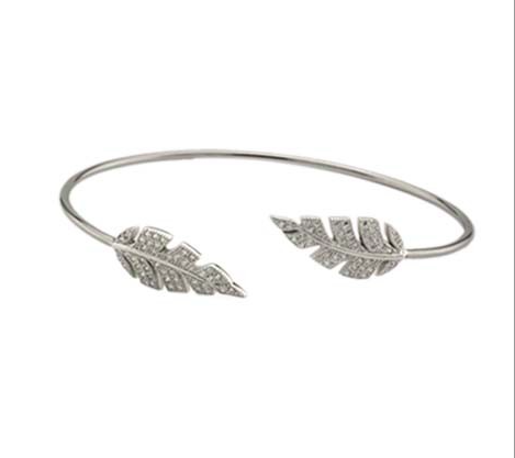 Pave Open Leaf Bangle - Onyx and Blush  - 1