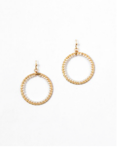Inside Pearl Gold Hoops - Onyx and Blush