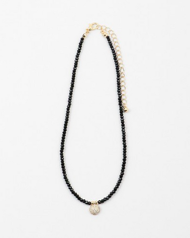 Beaded Charm Choker - Onyx and Blush  - 1