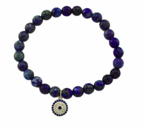 Medium Lapis Beaded Charm Bracelets - Onyx and Blush  - 1