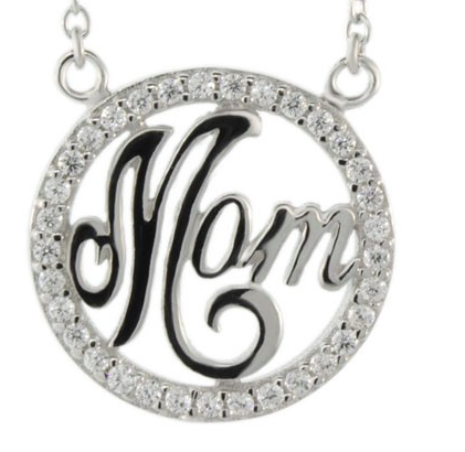 """Mom"" Circle Necklace - Onyx and Blush  - 2"