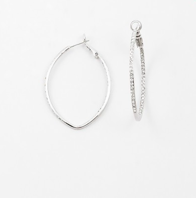 Oblong Pave Hoop - Onyx and Blush  - 1