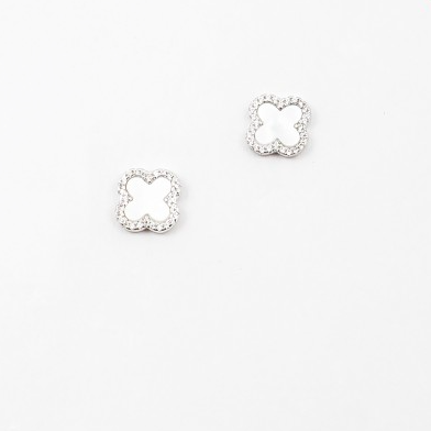 Mother of Pearl/Pave Clover Studs - Onyx and Blush  - 2