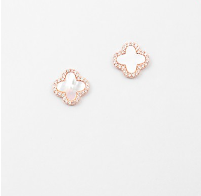 Mother of Pearl/Pave Clover Studs - Onyx and Blush  - 1