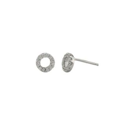 Petite Open Pave Circle Studs - Onyx and Blush  - 1