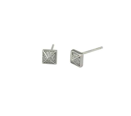 Silver Pave Pyramid Studs - Onyx and Blush
