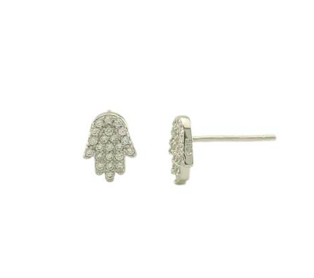 Petite Pave Hamsa Studs - Onyx and Blush  - 1