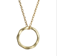 Matte Gold Hammered Ring Necklace - Onyx and Blush  - 2