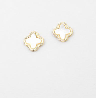 Mother of Pearl/Pave Clover Studs - Onyx and Blush  - 3