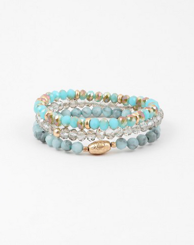 Turquoise Beaded Stack - Onyx and Blush