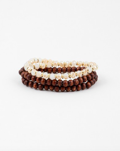 Wood/Bead Wrap Around Stretch Bracelet - Onyx and Blush  - 1