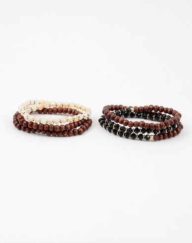 Wood/Bead Wrap Around Stretch Bracelet - Onyx and Blush  - 2