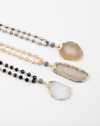Stone Pendant Necklace - Onyx and Blush  - 2