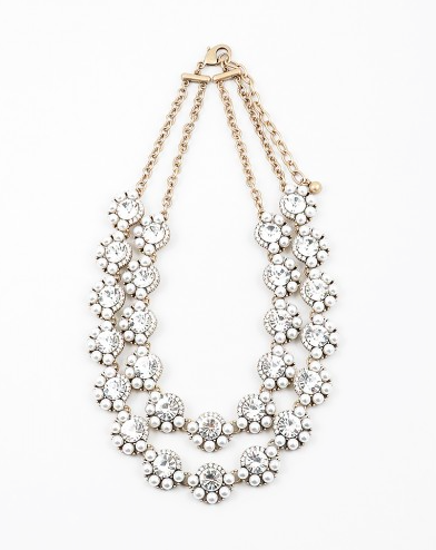 Double Pearl/Clear Statement Necklace - Onyx and Blush