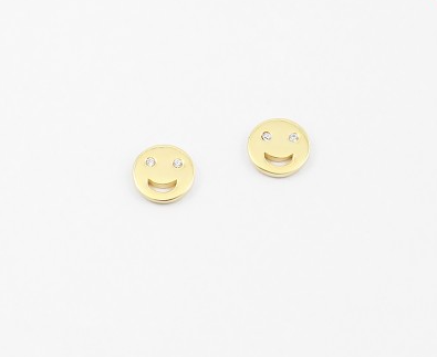 Emoji Smile Studs - Onyx and Blush  - 1