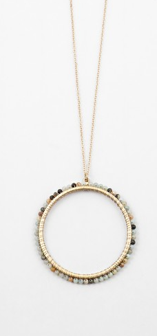 Beaded Open Circle Necklace