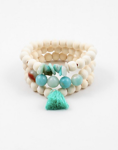 White/Turquoise Beaded Bracelet