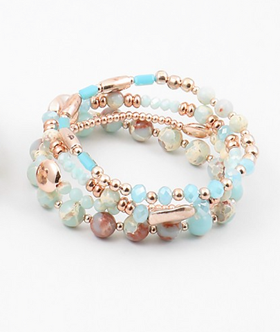 Rose Gold and Turquoise Beaded Bracelet