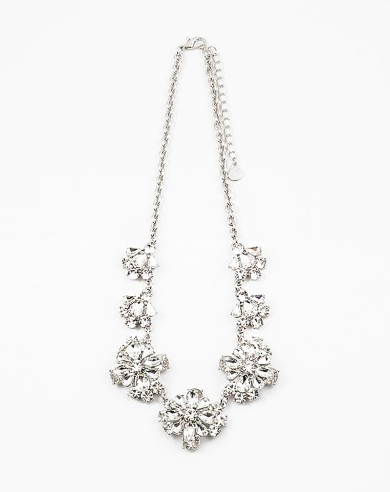 Clear/Silver Flower Statement Necklace