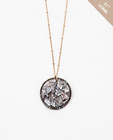 Marbled Resin/Pave Necklace