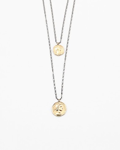 Double Black/Gold Coin Necklace