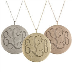 Large Disc with Initials - Onyx and Blush