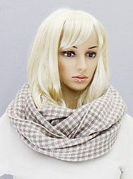 Houndstooth Infinity Scarf - Onyx and Blush