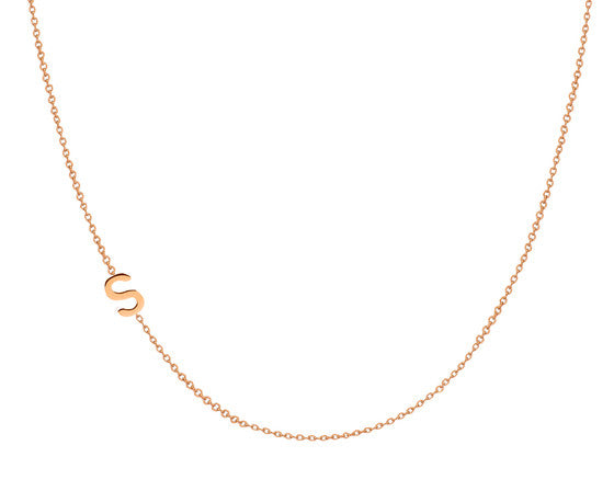 14K Gold Chic Side Initial Necklace - Onyx and Blush  - 1